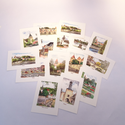 Cartes postales Aquarelles (lot de 4 cartes) 1.00 €